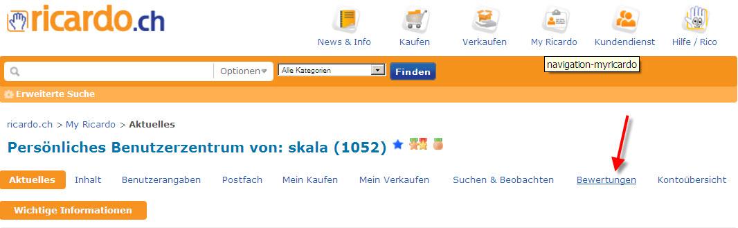 Bewertung nach einer ricardo.ch Auktion