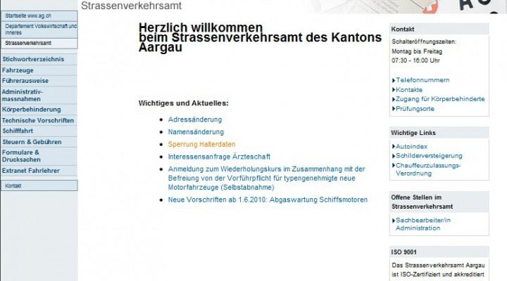 Sperrung der eigenen Autonummer – Kanton Aargau