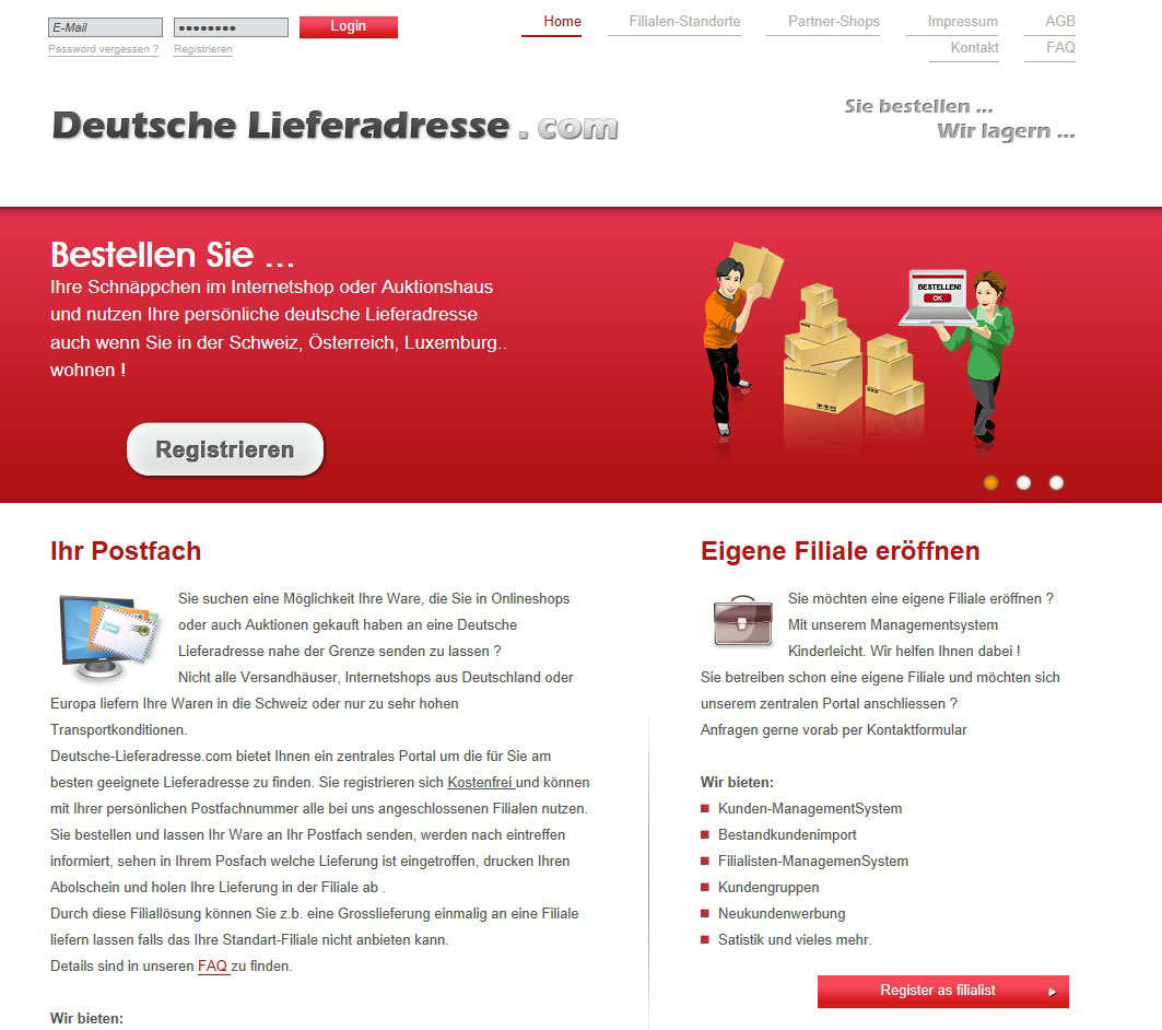 DropZone – Deutsche Lieferadresse