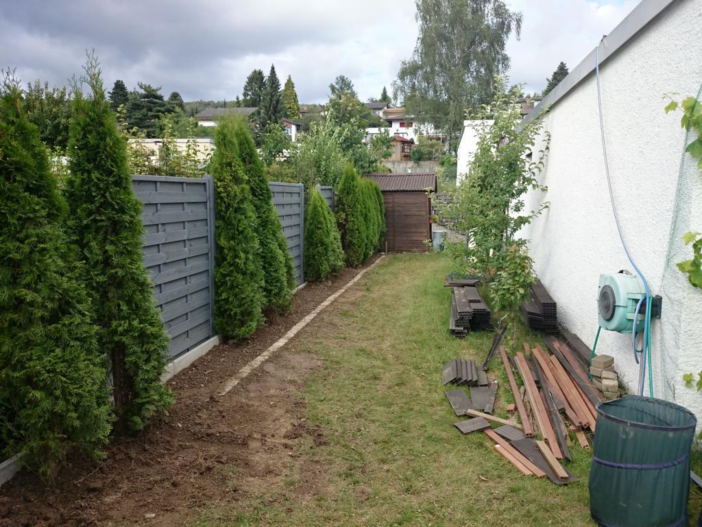 Neue w nde mit thujas for Garten umbau